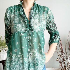 Dept Green Black Silk Blend Blouse Size M